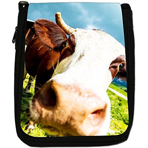 Mucca-Borsa a tracolla in tela, colore: nero, taglia: M Close Up Of A Cow