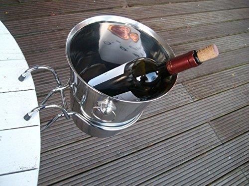 Flaschenkühler, Weinkühler, Sektkühler, Edelstahl, mit Tischhalterung