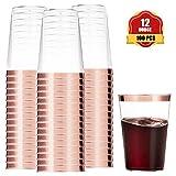 Funhoo 100pcs 12oz. Copas Tazas de plástico Transparente con Borde de Oro Rosa Desechables Compostable Vasos...
