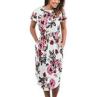 uface Mujer vestido de ocio con cuello redondo de manga corta y playa vestido informal Outdoor, color Weiß, tamaño small