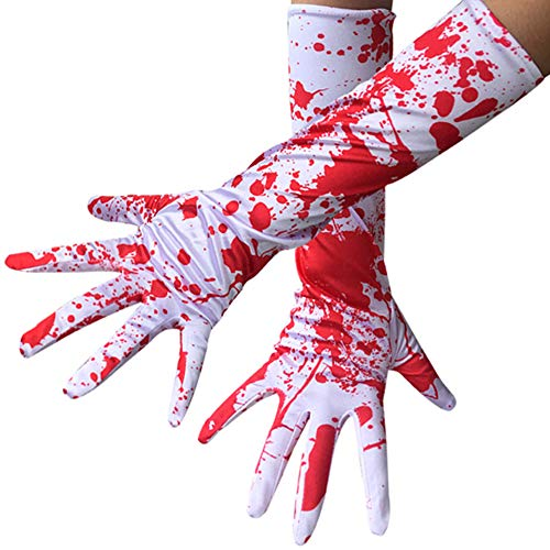 Damen Blut Handschuhe, Halloween Zombie Blood Splatter Handschuhe, Kostüm Halloween Horror Bloody Ghost Cosplay für Erwachsene (Weiß Friedhof Ghost Kostüm)
