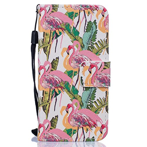 Cover iPhone 7,SainCat Custodia iPhone 7 In Pelle,Portafoglio Flip Case cover,Ultra Slim Flip Pelle PU Case,Anti-Scratch Protettiva Caso Elegante Creativa Dipinto Pattern Design PU Leather Flip Ultra  fenicotteri