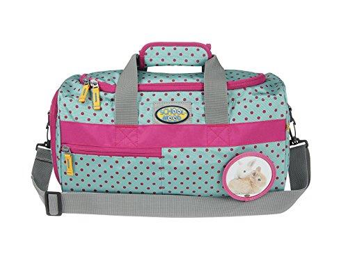Kinder-Sporttasche von School-Mood mit 12 Faber Farbstiften - versch. Farben (Pink Dots / Hase)