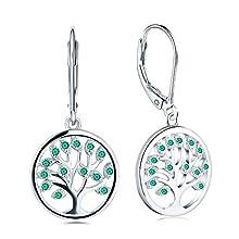 JO WISDOM Boucles d'oreilles arbre de la vie Yggdrasil argent 925 dormeuse dormeuse femme avec AAA zirconium Émeraude synthétique verte