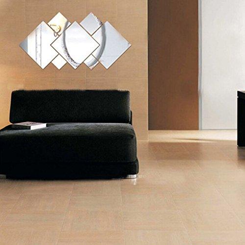 Cdrox 7Pcs Silber Quadrate Spiegel-Wand-Aufkleber-entfernbare Wand-Aufkleber-Ausgangsdekor -