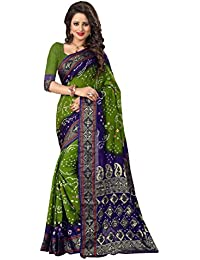 Regent-e Fashion Women's Cotton Silk Saree (Green & Blue)