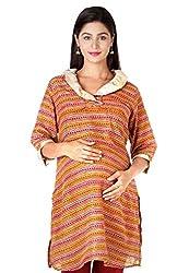 Morph Maternity - Maroon Ruffled Neck Nursing Kurta / Maternity Wear / Pregnancy Wear / Maternity Kurta / Feeding Kurta With Zip