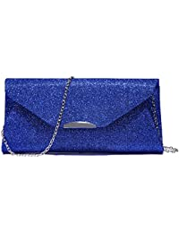 Evening Bag Clutch Handbags Envelope Purse For Women Flap Glitter With Chain Strap For Wedding Party Blue