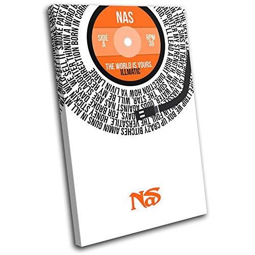 Bold Bloc Design - NAS The World Vinyl Record Song Lyrics Musical 120x80cm SINGLE Leinwand Kunstdruck Box gerahmte Bild Wand hangen - handgefertigt In Grossbritannien - gerahmt und bereit zum Aufhangen - Canvas Art Print
