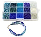 Beadsnfashion Jewellery Making Seed Beads Ice Blue Collection DIY Kit (15 Colors) Amazon