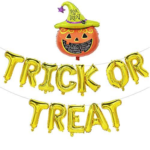 Ideapark Happy Halloween Ballons, Trick or Treat Balloons,Gold Trick or Treat Banner Happy Halloween Decoration Kit Pumpkin Jack Balloon ()