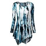 UFACE Damen Women's Printed Rundhals Langarm-Top Damenmode O-Neck Print Langarm-Lose Tops T-Shirt Bluse(Dunkelblau,EU/48CN/XL)