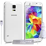 Yousave Accessories Coque Samsung Galaxy S5 Etui Clair Ultra-Mince Silicone Gel Housse Avec Chargeur De Voiture
