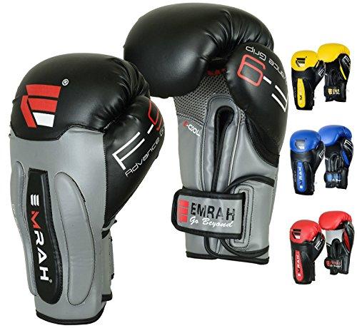 Emrah Maya-Leder Boxhandschuhe, Gel-Handschuhe für Sparring, Boxsack-Training, Thaiboxen, G7, grau, 397 g