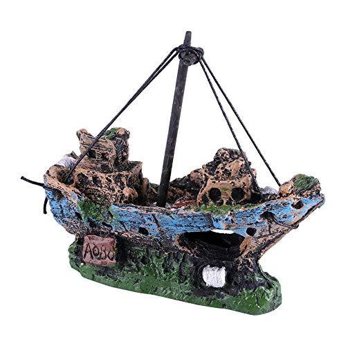 Fdit Aquarium Aquaristik Schiff Deko Schiffswrack Disch Höhle Dekorationen Kunstharz Wasser Ornament Boot Landschaftsbau Piratenschiff Thematisch -