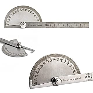 AUAUDATE 1pc Stainless Steel 180 Degree Protractor Angle Ruler Rotary Measuring Tool
