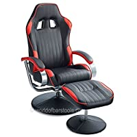 Racer Chair & Footstool Red & Black