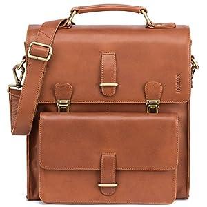 51FkSp%2BJZmL. SS300  - LEABAGS Lille maletín de auténtico Cuero búfalo en el Estilo Vintage - Cognac