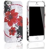 tinxi® Silikon Hülle für iPhone 5S / iPhone 5 Schutzhülle Case Cover Etui rot Blume