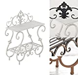 CLP Handmade Plant Stand Table AURICA, made of iron, 2-tier, size 53 x 22 cm, with nice details, choose from up to 4 colours antique white