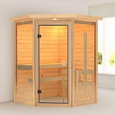 Karibu Sauna Aurel mit Dachkranz (Eckeinstieg) - für niedrige Räume von Woodfeeling GmbH - Du und dein Garten