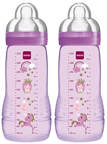 MAM 99950501 - Easy Active Baby Bottle 330 ml, Babyflasche, Doppelpack für Mädchen