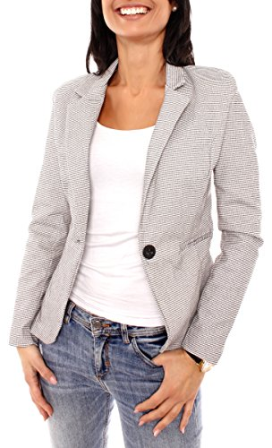 Damen Business Sweat Jersey Blazer Jacke Sweatblazer Jerseyblazer Sakko Kurz Slim Fit Gefüttert Kariert Pepita Muster Hellbeige-Schwarz XS - 34 (S)