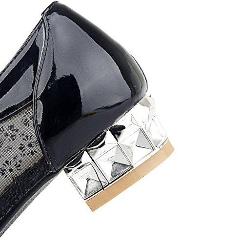 Voguezone009 Rein Schuhe Absatz materialien Blend Pumps Niedriger Damen Schnüren Spitz Schwarz Zehe Yr4Yq1