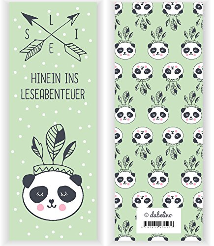 Lesezeichen Indianer (4er Set Indianer-Panda-Bär-Lesezeichen für Kinder (Mädchen oder Jungen, Kindergeburtstag-Mitgebsel, Tiere))