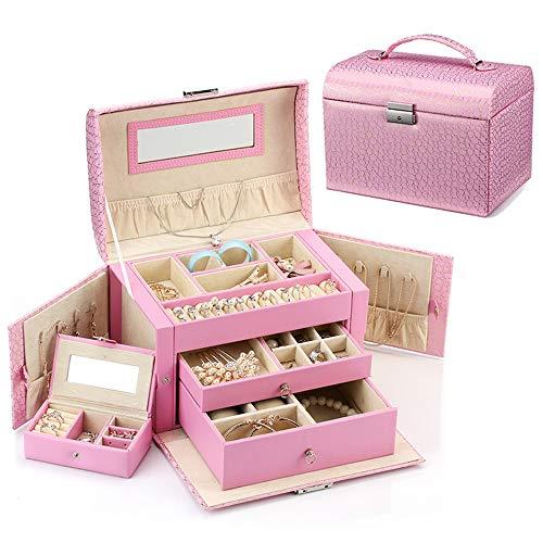 MENGKE Schmetterlings-Aufbewahrungsbehälter-Mädchen-Frauengeschenk des Schmuckkästchenschmucksachekastens dreischichtiges gespiegeltes,pink