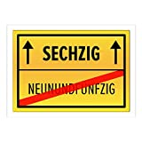 Große XXL Geburtstags-Karte mit Umschlag/DIN A4/60 Sechzig/Geburtstag/Happy Birthday/Witzig als Orts-Schild