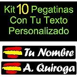 Vinilin - Kit 10 Pegatinas Vinilo Impreso Bandera España + Tu Nombre o Texto Personalizado. Resistentes Al Agua, Al Sol, y a