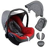 BAMBINIWELT Ersatzbezug für Maxi-Cosi CabrioFix 6-tlg. GRAU/ROT, Bezug für Babyschale, Komplett-Set