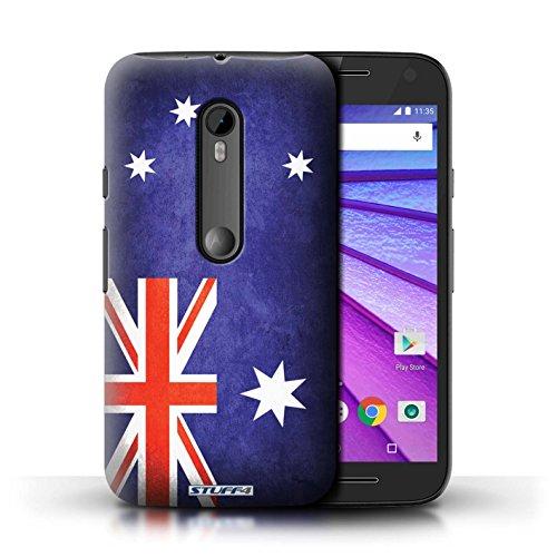 Custodia/Cover/Caso/Cassa Rigide/Prottetiva STUFF4 stampata con il disegno Bandiere per Motorola Moto G Turbo Edition - (Australiano Moto)
