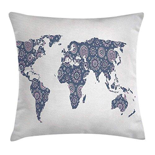 DDOBY Bohemian Throw Pillow Cushion Cover, Ethnic Oriental World Map with Arabesque Effect Artwork Print, Funda de Almohada Decorativa Decorativa Cuadrada, Azul cadete Azul Claro