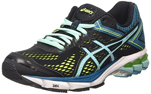 Asics Gt-1000 4, Chaussures de Running Compétition Femme Noir (black/pool Blue/flash Yellow 9039)