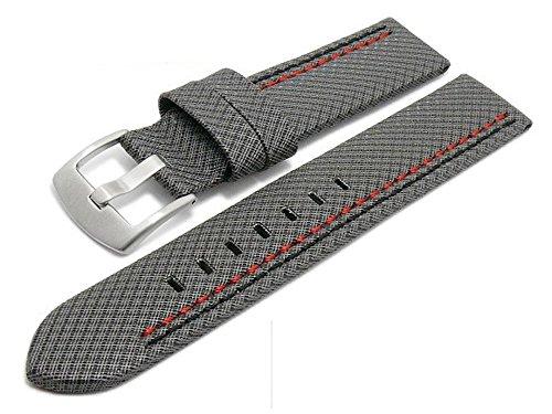 Meyhofer Uhrenarmband Oldenburg 22mm grau Synthetik Textillook 2farbige Doppelnaht MyHekkb17/22mm/grau/schw-roDN