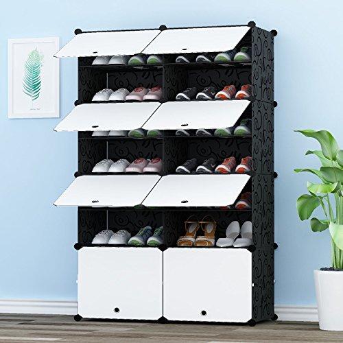 JOISCOPE PREMAG Portable Schuhspeicher-Organisator-Turm, modulares Kabinett-Fach für Platzeinsparung, Schuhregal-Regale für Schuhe, Aufladungen, Pantoffel 2 * 7 Tier