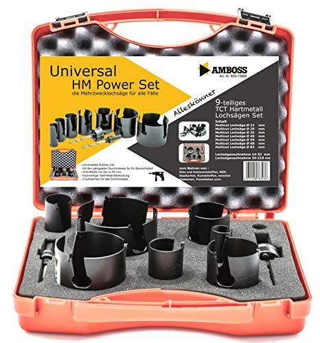 Amboss Universal-Lochsägen Set Ø 22-83 mm | 9-teilig | inkl. 6-kant Aufnahme | HM Power Set