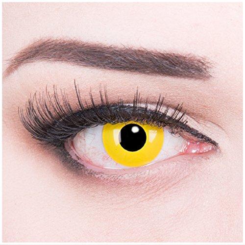 Funnylens 1 Paar farbige gelbe Crazy Fun Yellow Jahres Kontaktlinsen perfekt zu Fasching,Halloween, Wunden, Blut mit gratis Kontaktlinsenbehälter ohne Stärke!