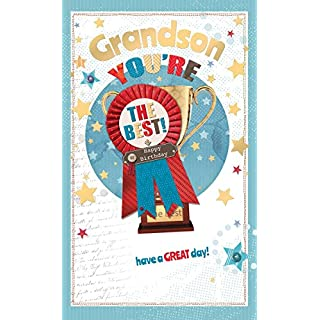 Grandson Birthday Card - You're The Best Rosette, Gold Trophy & Stars 9