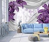 Papel Pintado Art Foto Mural Flor De Lirio De Seda Papel Tapiz Fotográfico Personalizado 3D Murales Grandes Sofá Dormitorio Moderno Pintura Mural Decoración Para El Hogar - 430x300CM(LxH)-XXXL