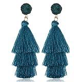 Orecchini lunghi da donna Orecchini a cristallo con frange a strati di colore Orecchini a ciondolo a forma di orecchio con ciondolo a tre strati Orecchini a forma Accessori (Blu chiaro)