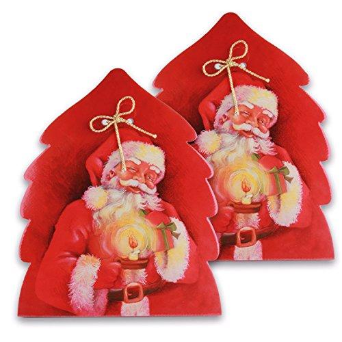 2 Geschenkverpackungen Weihnachten, Weihnachtsbaum im Set – 34,5 x 30,0 x 33,0 cm – außergewöhnliche Geschenkbox mit Weihnachtsmann Motiv, rot
