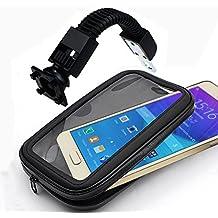 IBROZ - Soporte Moto universal, Scooter (Escúter) etc … o Bicicleta en el retrovisor del manillar con varilla flexible y funda hermética para iPhone 6 PLUS, ASUS Zenfone 2, SAMSUNG GALAXY NOTE 3,4,5, Sony XPeria Z1 .. (longitud máxima: 7,8 cm, altura: 15,8 cm)