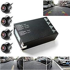 PolarLander 4PCS 360 View-Auto-Kamera Control Box 4-Wege-Kameras Switch-System hintere Ansicht UP Kameras für hinten links rechts Größe Frontkamera