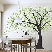 vinilo adhesivo para pared diseo de rbol gigante negro con hojas verdes pjaros y
