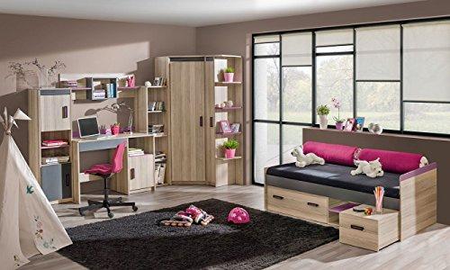 Jugendzimmer Komplett - Set D Marcel, 7-teilig, Farbe: Esche Rosa / Grau / Braun