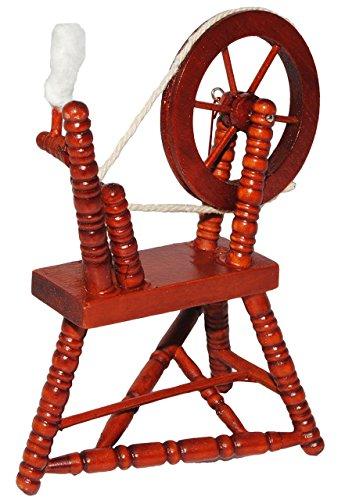 Miniatur - Spinnrad & Spindel - aus dunklem natur Holz - lackiert - für Puppenstube Maßstab 1:12 - Puppenhaus Puppenhausmöbel - zum Spinnen Wolle - Diorama - Schafwolle Spindel Dornröschen Märchen - Wohnzimmer / Puppenmöbel