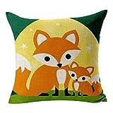 Leinen Kissen Fall, Lovely Fox Muster Rest Kissenbezug Two Foxs